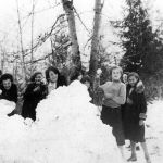 School Gang 1936 -- Evelyn Emilson-Eva Viau-Shirley Stevens-Anee Nord-Flora Viau-Dorothy Jones-Poly Verigin-Loltie Anderson-Florence Slako-Vera Harris