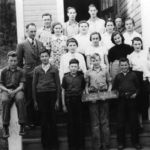April 1938 -- FR Roll -Wallace Barber-Harry Schesuak-Tommy Slattery-Vernon Chrysler-Steve Schesuak-Eddy Flagel-2-Vera Harris-Florence Slako-Shirley Stevens-Evelyn Emilson-3-Fred Pritchard-Anne Nord-Natilda Stenzel-Hazel Blaine-Polly Verigin 4-Sam Verigin