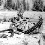 Bullwheel from Ymir tramline Wild Horse, 1953