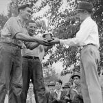 Ymir May Days L. Morrel presenting cup to Ed Emilson and Sonny Burgess